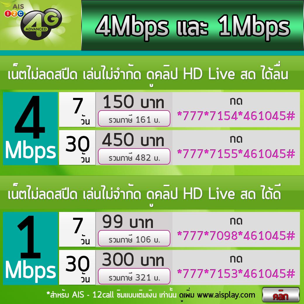 เน็ต ais 1Mbps 4Mbps